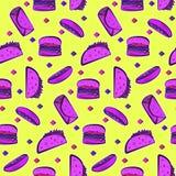 Яркая кисловочная картина с фиолетовым фаст-фудом на желтом цвете Стоковые Изображения RF