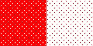 Яркая красная и белая ретро картина предпосылки точек польки дизайна, Стоковое Изображение