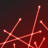 Яркая красная предпосылка лазерных лучей с светлыми пирофакелами Стоковое Изображение RF