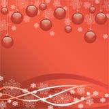 Яркая красная предпосылка рождества с снежинками Стоковая Фотография RF