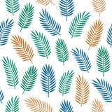 Яркая красочная безшовная декоративная картина с оранжевой голубой и зеленой тропической ладонью выходит изолированный на белую п иллюстрация вектора