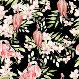 Яркая красочная картина акварели с листьями, цветками и птицей фламинго Стоковое Изображение