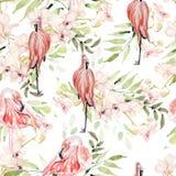 Яркая красочная картина акварели с листьями, цветками и птицей фламинго Стоковые Фотографии RF