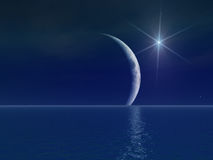 яркая луна над звездой сюрреалистический Стоковые Фотографии RF