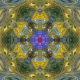 Яркая оранжевая мандала teal, желтая голубая плитка влияния калейдоскопа Стоковое фото RF
