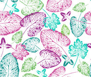 Яркая осень Безшовная handcrafted картина с листьями осени Стоковое Фото