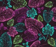 Яркая осень Безшовная handcrafted картина с листьями осени Стоковая Фотография