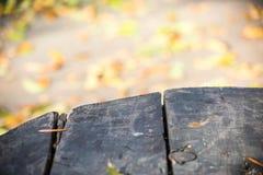 Яркая осень запачкала предпосылку и край деревянного стола стоковая фотография