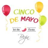 Яркая поздравительная открытка с литерностью нарисованной рукой для Cinco de mayo в минималистичном стиле Иллюстрация вектора для бесплатная иллюстрация