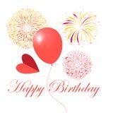 Яркая поздравительная открытка с фейерверками и шариком Стоковые Фото