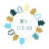Яркая поздравительная открытка рождества в стиле нарисованном рукой Стоковая Фотография