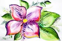 Яркая покрашенная иллюстрация с красивым цветком Стоковые Изображения