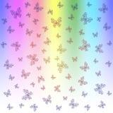 Яркая предпосылка радуги с грациозно бабочками бесплатная иллюстрация