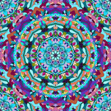 Яркая предпосылка голубого и фиолетового рук-чертежа орнаментальная флористическая абстрактная безшовная с много деталей для диза Стоковое Изображение