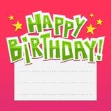 Яркая предпосылка поздравительой открытки ко дню рождения с литерностью и место для tex Стоковое фото RF