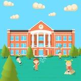 Яркая плоская иллюстрация школьного здания Стоковые Изображения