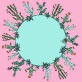 Яркая рамка кактусов Стиль мозаики Экзотический дизайн бесплатная иллюстрация
