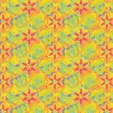 Яркая свободная и текстурированная флористическая симметричная безшовная картина иллюстрация вектора