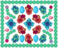 Яркая сделанная по образцу предпосылка с яйцами, с кругами, с цветами и различными элементами бесплатная иллюстрация