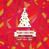 Яркая современная поздравительная открытка рождества с счастливым желанием Нового Года Стоковая Фотография RF