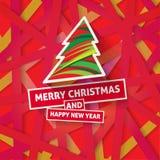 Яркая современная поздравительная открытка рождества с счастливым желанием Нового Года Стоковые Фотографии RF
