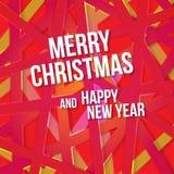 Яркая современная поздравительная открытка рождества с счастливым желанием Нового Года Стоковое Изображение RF
