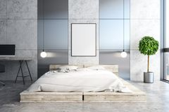 Яркая спальня с пустым плакатом иллюстрация штока
