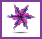 Яркая флористическая абстрактная предпосылка Пурпур цветет лилии, украшенные круги и свирли иллюстрация штока