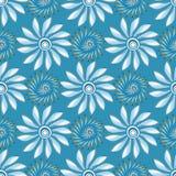 Яркие абстрактные цветки на картине голубой предпосылки безшовной vector иллюстрация Стоковые Фото