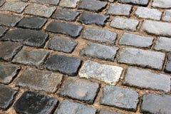 Яркие влажные камни тротуара после дождя стоковое изображение