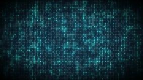 Яркие голубые накаляя символы компьютера появляются на решетку потока данным по технологии иллюстрация вектора