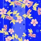 Яркие голубые предпосылка и цветки Стоковое Фото