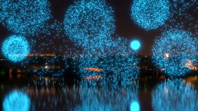 Яркие голубые фейерверки над рекой видеоматериал