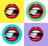 Яркие губы держа сверкная гениальный комплект Реалистическая графическая иллюстрация Стоковые Фотографии RF
