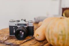 Яркие желтые тыквы на русом деревянном столе, vintaga пришли стоковые фотографии rf