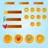 Яркие желтые передвижные элементы для игры Ui - developme игры комплекта Стоковая Фотография