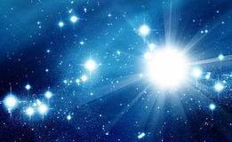 Яркие звезды в голубом космосе Стоковая Фотография