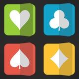 Яркие значки костюмов играя карточек установили в чистое Стоковые Изображения