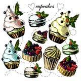 Яркие и очень вкусные пироги, пирожные и macaroon Иллюстрация вектора