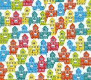 Яркие красочные дома в снеге Стоковое фото RF