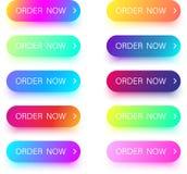 Яркие красочные заказа значки теперь изолированные на белизне Стоковая Фотография