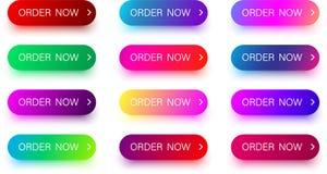 Яркие красочные заказа значки теперь изолированные на белизне Стоковая Фотография RF