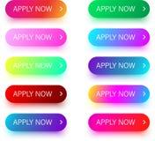 Яркие красочные прикладывают теперь значки изолированные на белизне Стоковая Фотография RF