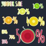 Яркие красочные стикеры плодоовощей для продажи лета иллюстрация штока