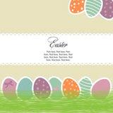 яркие пасхальные яйца карточки иллюстрация штока