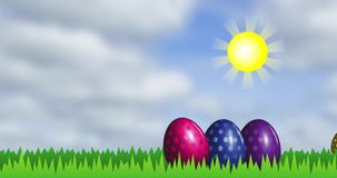 Яркие пасхальные яйца на зеленой траве иллюстрация штока