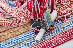 Яркие пестротканые ленты Этнический славянский пояс для одежд Стоковые Изображения