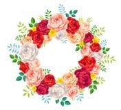 Яркие пионы цветов красных, фиолетовых, розовых и белых vector венок лета на белой предпосылке Стоковая Фотография