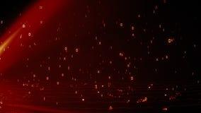 Яркие пламенистые красные накаляя частицы с двоичными данными 1 и 0 дождей бесплатная иллюстрация