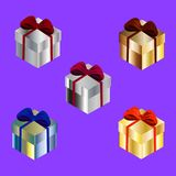 Яркие подарочные коробки установили 2 Стоковое Фото